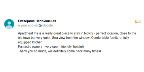 Google Review from Russia